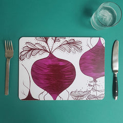 Lush Designs Beetroot table mat with knife, fork and glass of water