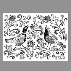 Downloadable print for you to colour-in depicting singing birds among flowers