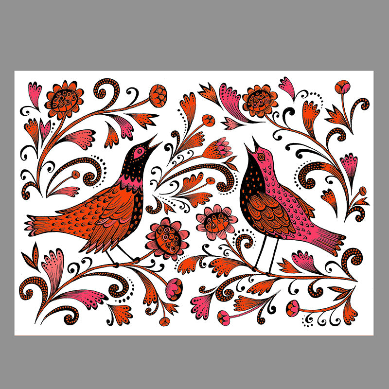 Free downloadable print coloured in shades of pink and orange