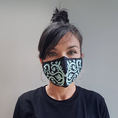 Lush Designs face mask with black and light blue print
