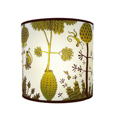 Lush Designs Lampshade with victorian-inspired monkey print in chartreuse green and brownish black