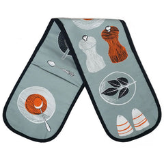 Lush Designs salt and pepper printed oven gloves in grey with orange and black