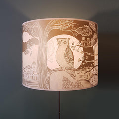 lush designs owl lampshade in gold and cream