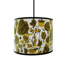 Lush Designs lampshade with detailed print of bushes, plants and gardening tools