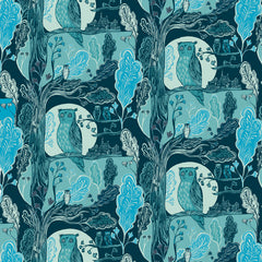 Lush designs owl wrapping paper in shades of blue