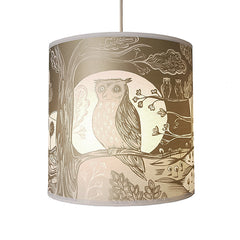 Lush Designs Medium sized lampshade with print of owl and moon in metallic gold with