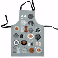 Lush designs apron with 1950s style print of salt and pepper cruets