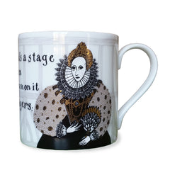 Bone china mug depicting Elizabeth 1st in black, beige and pure gold print