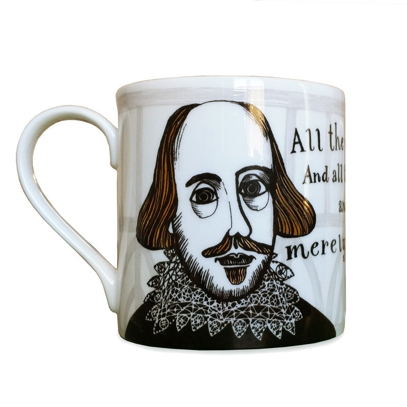 "Lush Designs bone china mug featuring William Shakespeare and ""All the world"