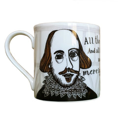"Lush Designs bone china mug featuring William Shakespeare and ""All the world's a stage"" quotation"