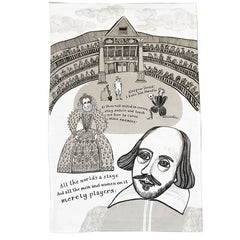 Lush designs tea towel illustrated with a print of Shakespeare, Hamlet and Queen Elizabeth 1 at the Globe theatre