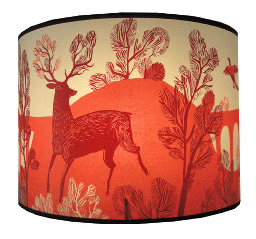 Stag lampshade red lush designs lush designs stag print lampshade in shades of red lush designs red stag print shade in larger size aloadofball Gallery