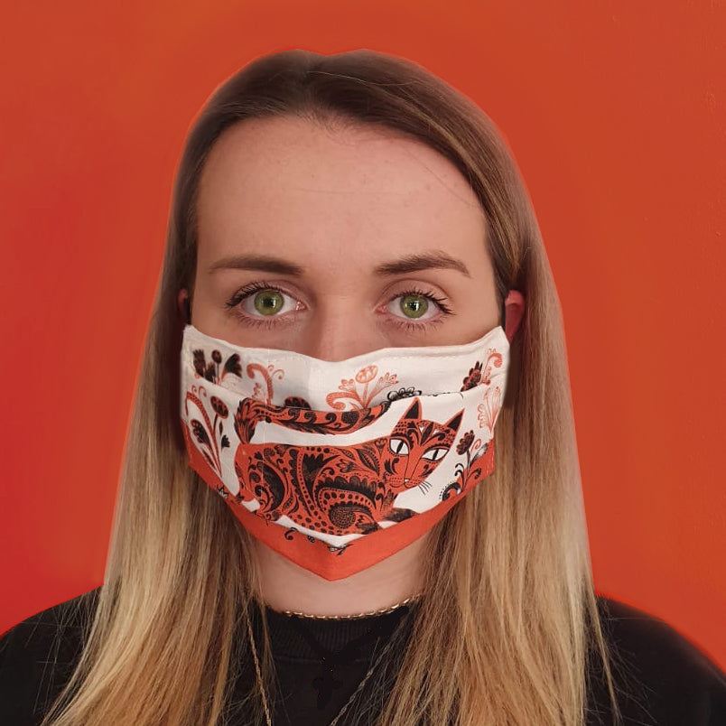 Lush Designs cat-print face mask in orange black and white