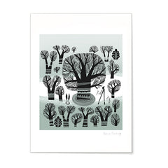 print of winter trees in a greyish green landscape