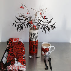 Lush Designs Fox tea towels with red and black and white vase and lion print mug of tea