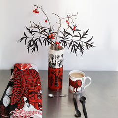 Red and white tree design vase with orange and white lion mug and red fox tea towel