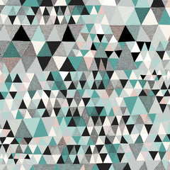 Lush Designs triangle patterned gift wrap in shades of teal blue, black, pale pink and white