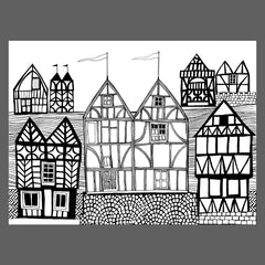 Colouring page in black and white of tudor houses