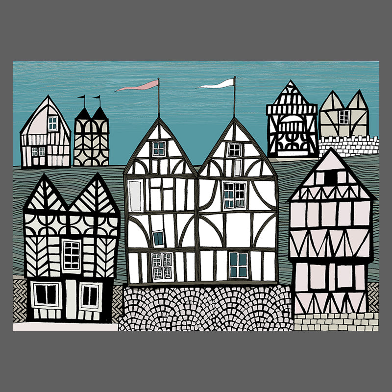 Free downloadable artwork of Tudor Houses on the banks of a river