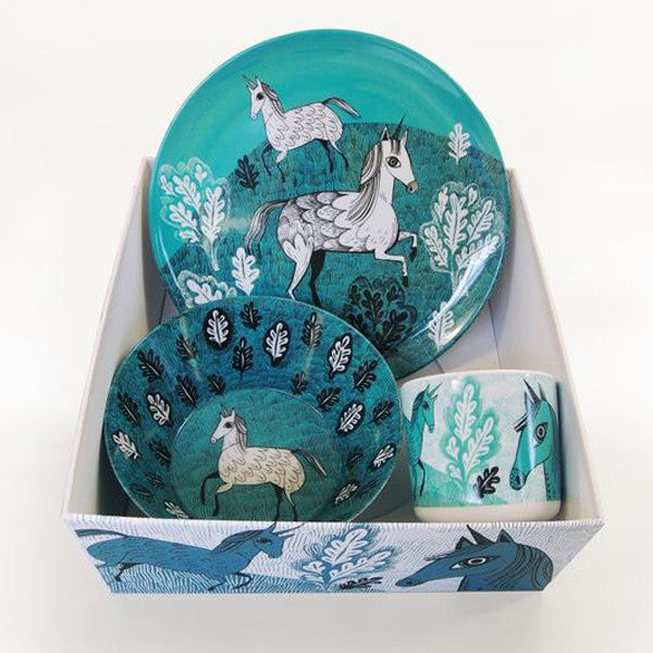 Lush designs melamine bowl, cup and plate in gift box with unicorn print in turquoise