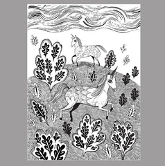 Black and white print of unicorns on a hill