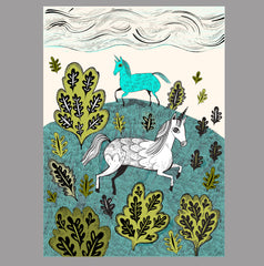 Downloadable print of unicorns on a hill