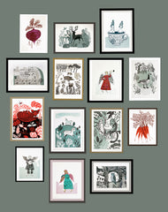 Lush Designs wall of framed prints
