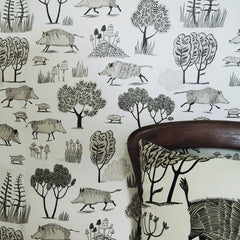 Lush Designs Wild Boar wallpaper with Wild Boar cushion