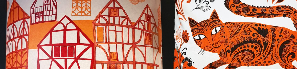 Orange tudor style print and orange cat print products