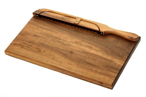 american walnut bread board with fiddle bow bread knife