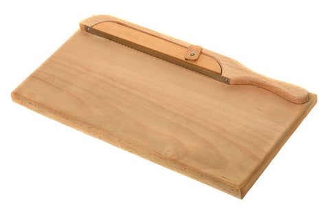 beech bread board with fiddle bow bread knife set