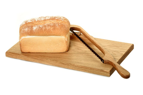 oak bread board with fiddle bow bread knife set