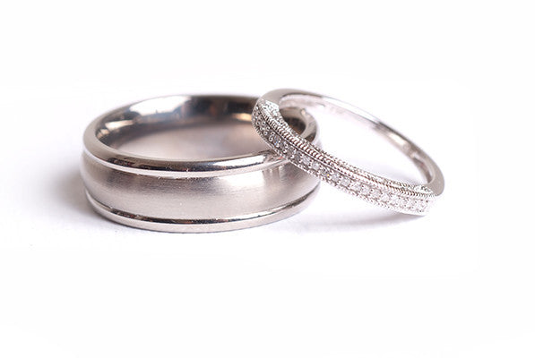 Classic Double Inlay wedding band in 18kt White gold