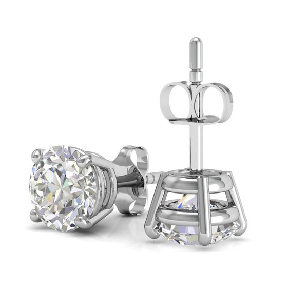 Amore Solitaire Stud earrings in 18K white gold