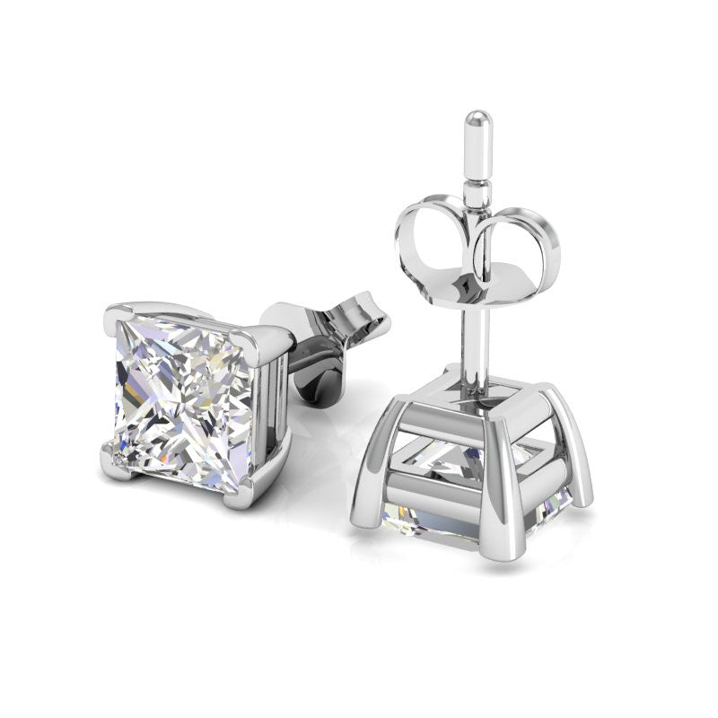 Princess Diamond Studs in 18K white gold
