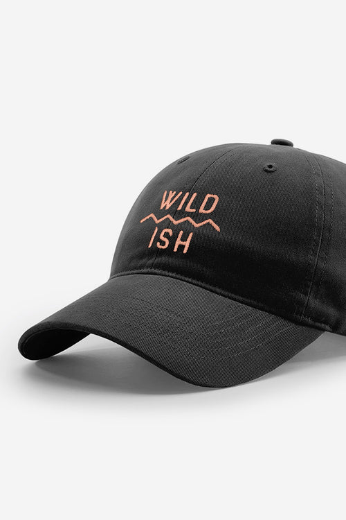 stay wildish mtn scape cap dad hat black and peach
