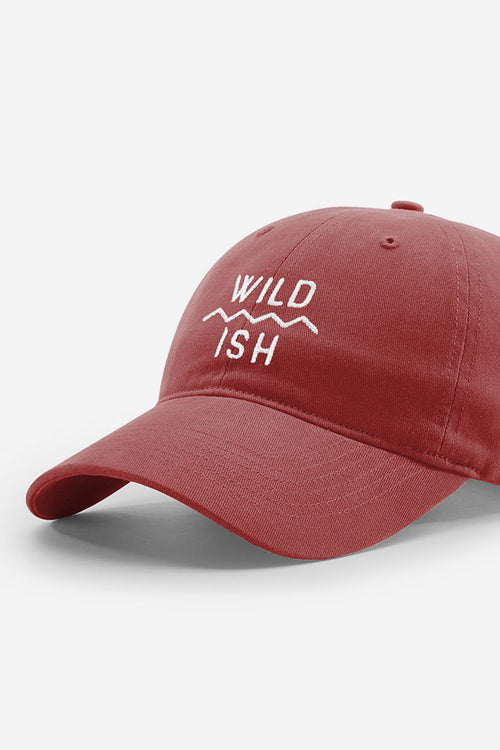 stay wildish mtn scape cap dad hat maroon and white