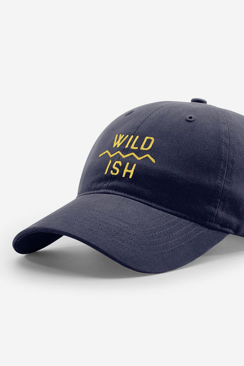 stay wildish mtn scape cap dad hat navy blue and yellow