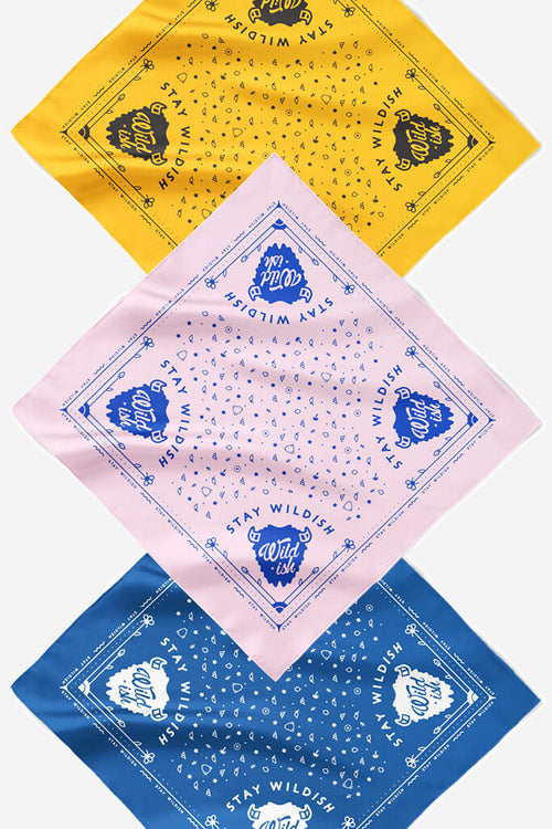wildish bandana 3 pack pink, blue, and gold