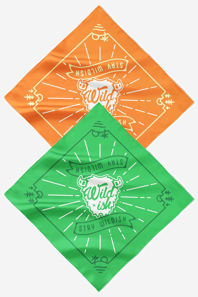 wildish buffalo bandana 2 pack green orange