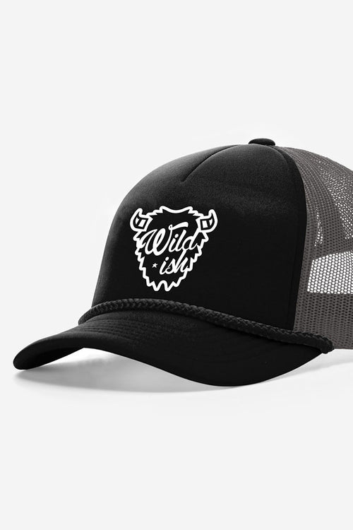 wildish buffalo foam trucker hat black