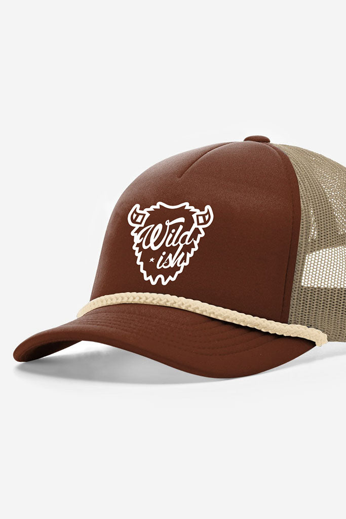 wildish buffalo foam trucker hat brown