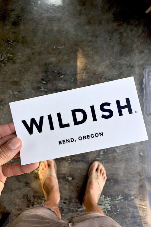 wildish bumper sticker white in hand