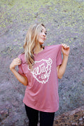 wildish buffalo tee shirt mauve on model