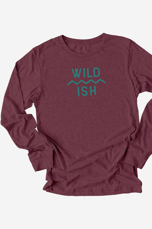 wildish mtn scape long sleeve tee shirt maroon