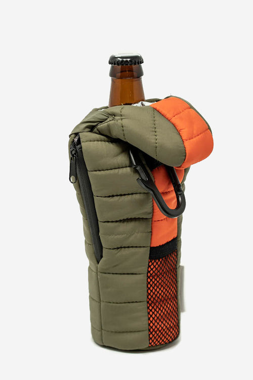 wildish puffin beer holder koozie green side zipper