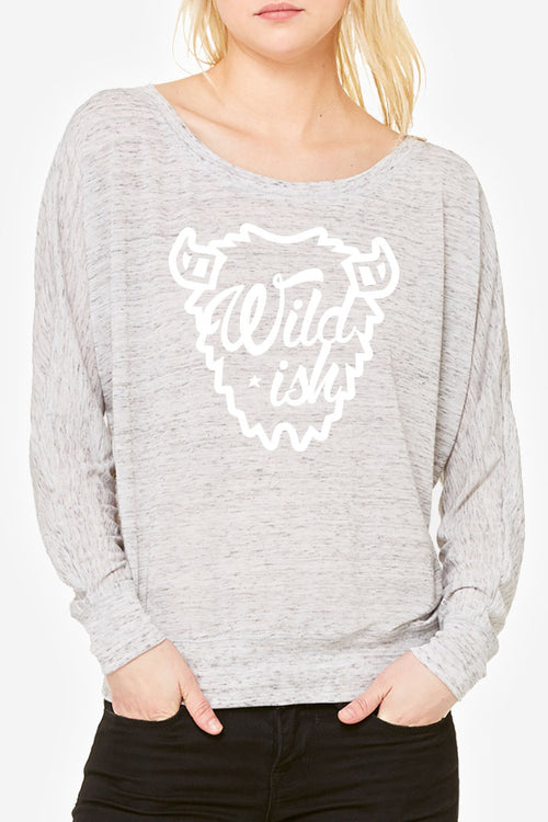 wildish buffalo long sleeve t-shirt womens tee grey marble