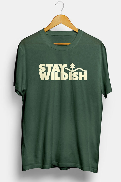 stay wildish forest vibes tee shirt green