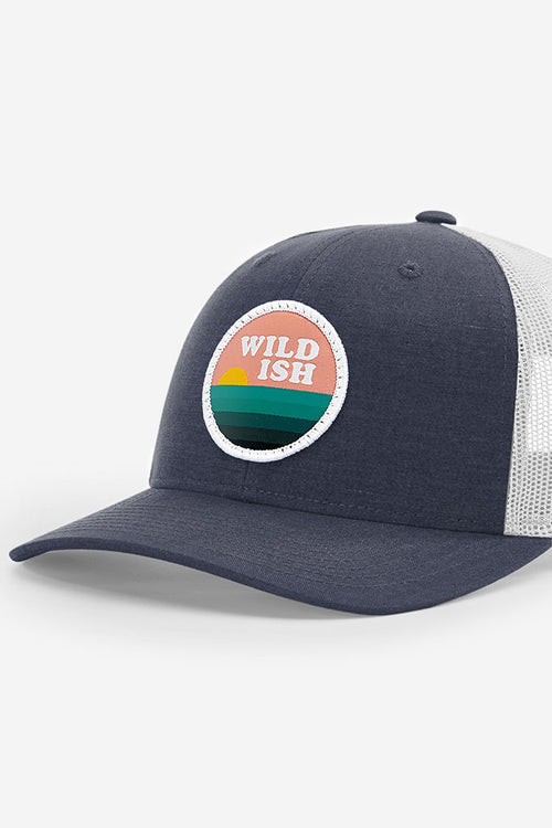 wildish sunset chaser patch hat trucker deep sea blue grey