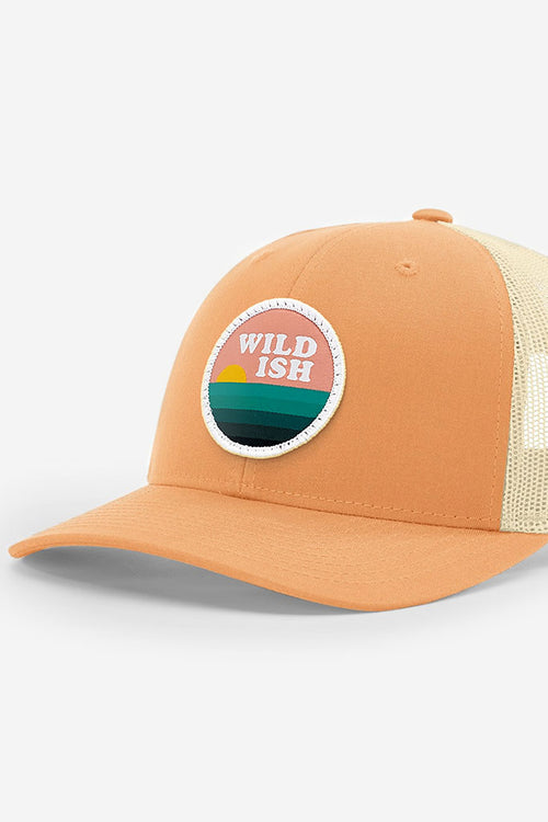 wildish sunset chaser patch hat trucker peachy orange
